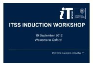 ITSS INDUCTION WORKSHOP - IT Services