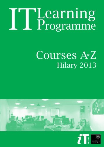 course calendar - IT Services - University of Oxford