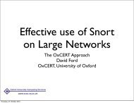 Effective use of Snort on Large Networks - IT Services - University of ...