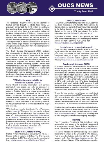 oucs news trinity 2005 for PDF.indd - Computing Services