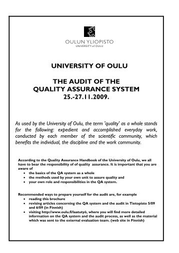 THE AUDIT OF THE QUALITY ASSURANCE SYSTEM 25 ... - Oulu