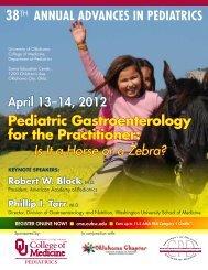 38th ANNUAL ADVANCES IN PEDIATRICS - OU Medicine