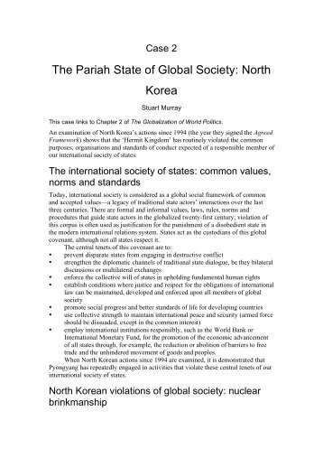 The Pariah State of Global Society: North Korea