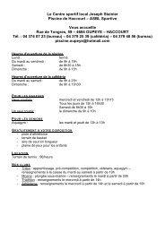 Le Centre sportif local Joseph Stainier Piscine de ... - Oupeye