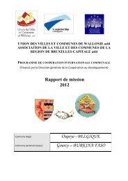 Rapport de mission 2012 Oupeye - BELGIQUE Gourcy – BURKINA ...