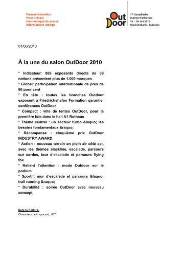 Communiqué de presse PDF - OutDoor Friedrichshafen