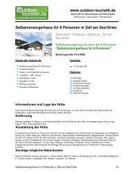 Selbstversorgerhaus für 8 Personen in Zell am ... - Outdoor-Touristik