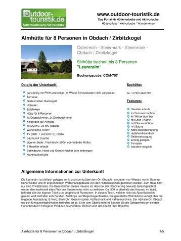 Almhütte für 8 Personen in Obdach / Zirbitzkogel - Outdoor-Touristik