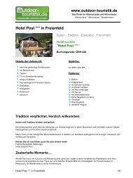 Hotel Post *** in Freienfeld - Outdoor-Touristik