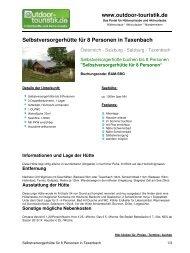 Selbstversorgerhütte für 8 Personen in Taxenbach - Outdoor-Touristik