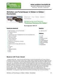 Skihütten und Ferienhäuser in Sölden in Sölden ... - Outdoor-Touristik