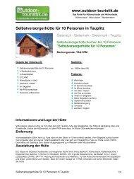 Selbstversorgerhütte für 10 Personen in Tauplitz - Outdoor-Touristik
