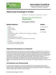 Hüttenurlaub Kreuzkogel in Großarl - Outdoor-Touristik