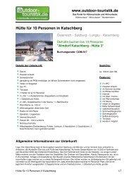 Hütte für 10 Personen in Katschberg - Outdoor-Touristik