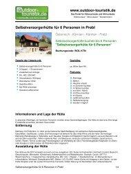 Selbstversorgerhütte für 6 Personen in Prebl - Outdoor-Touristik