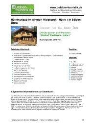 Hüttenurlaub im Almdorf Waldesruh - Hütte 1 in ... - Outdoor-Touristik