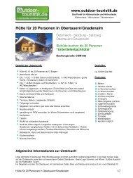 Hütte für 20 Personen in Obertauern/Gnadenalm - Outdoor-Touristik
