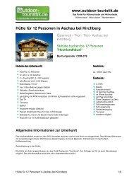 Hütte für 12 Personen in Aschau bei Kirchberg - Outdoor-Touristik
