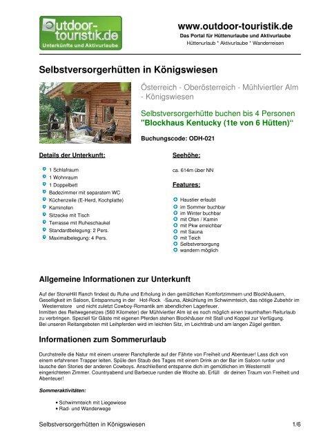 Selbstversorgerhütten in Königswiesen - Outdoor-Touristik