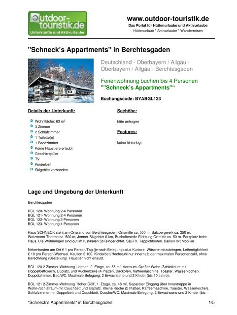 Ferienwohnung für 4 Personen in Berchtesgaden - Outdoor-Touristik