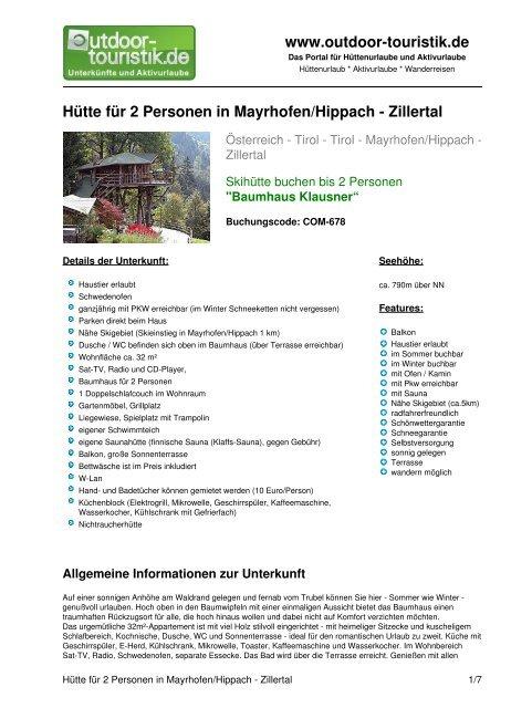 Hütte für 2 Personen in Mayrhofen/Hippach ... - Outdoor-Touristik