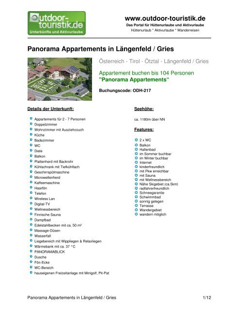Panorama Appartements in Längenfeld / Gries - Outdoor-Touristik