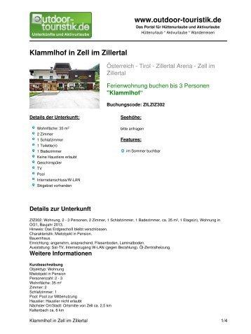 Ferienwohnung für 3 Personen in Zell im Zillertal - Outdoor-Touristik