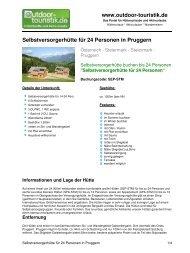 Selbstversorgerhütte für 24 Personen in Pruggern - Outdoor-Touristik