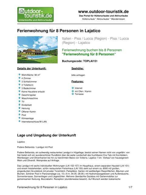 Ferienwohnung für 8 Personen in Lajatico - Outdoor-Touristik