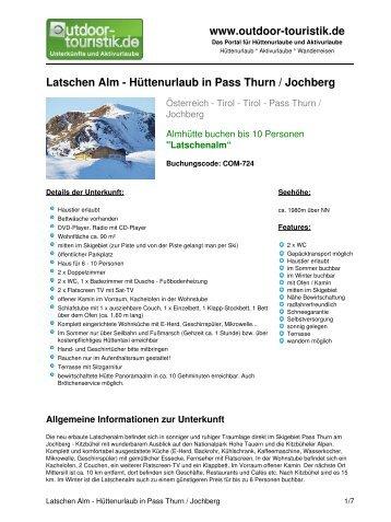 Latschen Alm - Hüttenurlaub in Pass Thurn ... - Outdoor-Touristik