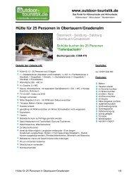 Hütte für 25 Personen in Obertauern/Gnadenalm - Outdoor-Touristik