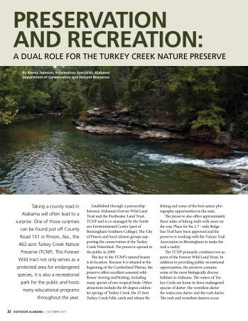 PrESErVAtiOn And rECrEAtiOn: - Alabama Department of ...