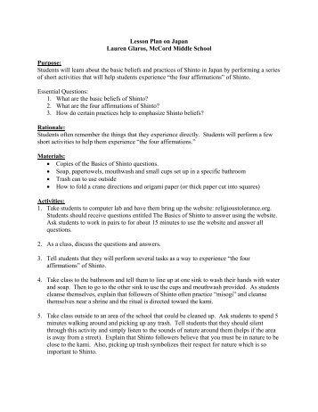 Lesson Plan on Japan Lauren Glaros, McCord ... - Outreach World
