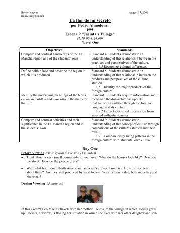 La flor de mi secreto Lesson Plan (pdf) - Outreach World