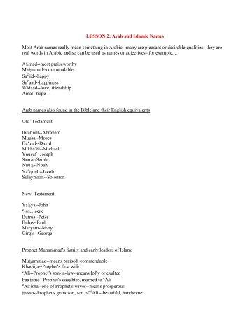 LESSON 2: Arab and Islamic Names Most Arab ... - Outreach World