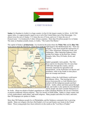 LESSON 42 A VISIT TO SUDAN - Outreach World