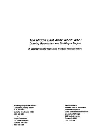 Middle East WWI Intro - Outreach World