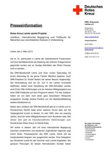Presseinformation - Ortsverein Lehrte - DRK