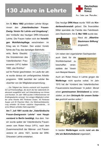 130 Jahre in Lehrte - DRK Lehrte
