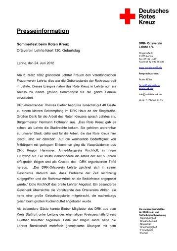 Presseinformation DRK - Ortsverein Lehrte - DRK