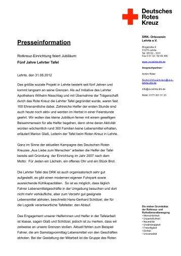 20120831_Presseinfo 5 Jahre DRK Tafel Lehrte - Das Rote Kreuz in ...