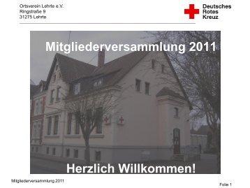 Jahresbericht vom 2011 - Ortsverein Lehrte - DRK