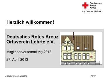 Jahresbericht vom 2013 - Das Rote Kreuz in Lehrte - DRK