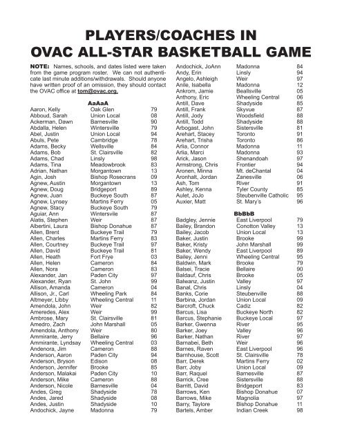 PLAYERS/COACHES IN OVAC ALL-STAR BASKETBALL GAME