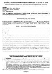 přihláška do výběrového řízení na pronájem bytu za ... - Ostrava-JIH