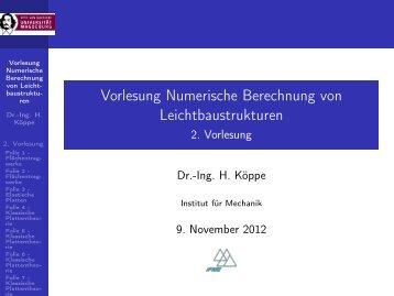 Vorlesung Numerische Berechnung von Leichtbaustrukturen - 2 ...