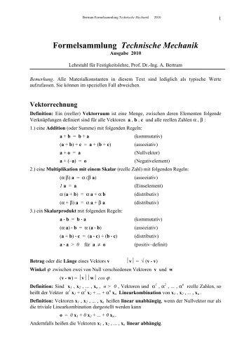 Formelsammlung zur mechanik for Grundlagen technische mechanik