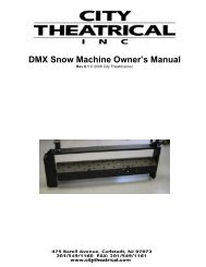 DMX Snow Machine Owner's Manual - City Theatrical