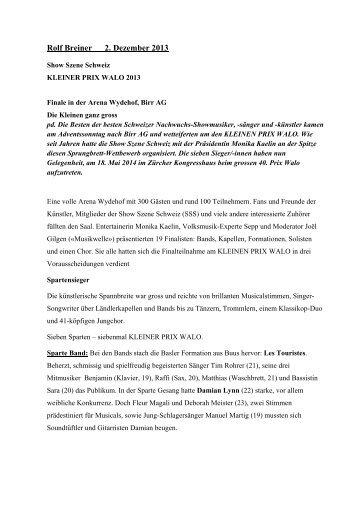 der ganze Pressebericht als PDF - Karl Graf