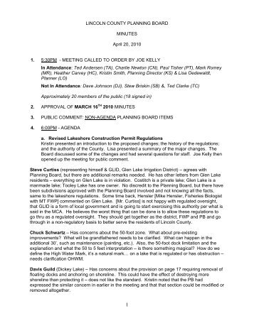 LINCOLN COUNTY PLANNING BOARD MINUTES April 20, 2010 1 ...